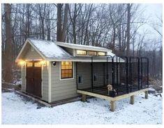 Large Dog House, Build A Dog House, Dog House Plans, Dog Kennel Cover, Diy Dog Kennel, Kennel Ideas, Dog Kennel And Run, Dog Kennel Outside, Building A Dog Kennel
