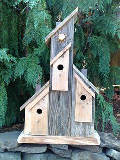 Rustic Bird Feeders, Bird House Feeder, Decorative Bird Houses, Bird Houses Diy, Reclaimed Wood Furniture, Reclaimed Barn Wood, Outdoor Art, Outdoor Decor, Bird House Plans
