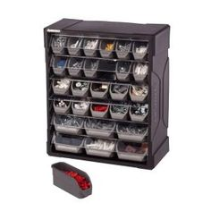 The Akro-Mils 64 Drawer Small Parts Storage Cabinet is constructed of plastic with black finish. It is wall mountable and comes with see through drawers for easy accessing. Wire Storage, Storage Bins, Tool Storage, Storage Rack, Tool Drawer Organizer, Storage Ideas, Small Parts Storage, Small Parts Organizer, Husky Tool Box