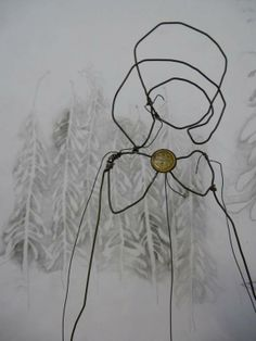 """Julia Jowett She draws with wire, pencil and stitch piece from """"Are you Listening Carefully?"""" - exhib at Unittwelve."""