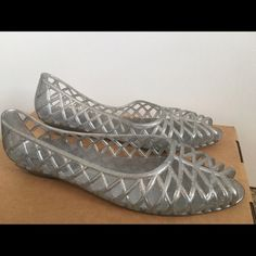 American Apparel jelly flats Silver sparkle jellies, worn once. American Apparel Shoes Flats & Loafers