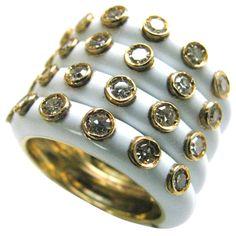 CHRISTIAN DIOR - Gold + Enamel + Diamond Band Ring