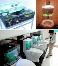 Bathroom Aquariums: Wonderful interior design, maybe not so fun for the fish...