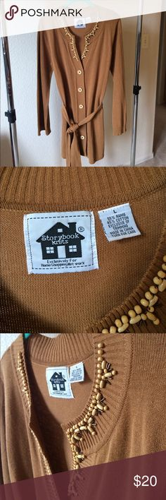 New camel embellished front button cardigan 55% Ramie 45% cotton hand wash cold water embellished with natural ornaments. No trades Open to reasonable offers and counter offers. I don't negotiate in comments please use the offer button if interested in making an offer All bundles come with a free gift  storybook knits Sweaters Cardigans