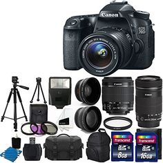 Canon EOS 70D 20.2 MP Digital SLR Camera with Dual Pixel CMOS AF Full HD 1080p Video with Movie and EF-S 18-55mm F3.5-5.6 IS STM with Canon EF-S 55-250mm STM f/4-5.6 IS Image Stabilizer Telephoto Zoom Lens + 58mm 2x Professional Lens + High Definition 58mm Wide Angle Lens + Auto Flash + Uv Filter Kit withwith 24GB Complete Deluxe Accessory Bundle Canon http://www.amazon.com/dp/B00HFCWSWO/ref=cm_sw_r_pi_dp_T70Fvb144DNYR