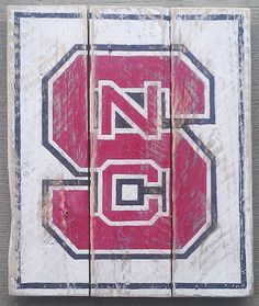 TAKING ORDERS---North Carolina State, NC State, Wolfpack, Go Pack,, Vintage looking sign, pallet wood, hand made, hand painted