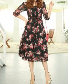 Bohemian Floral Print High Waist Chiffon 3/4 Sleeves Scoop Neck Dress For Women 2XL (Asian sizing) $12.19