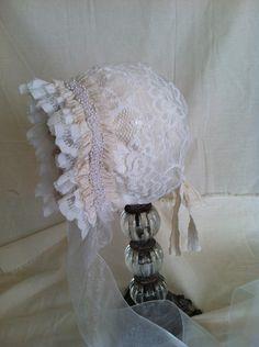Newborn Photography Prop White Lace and Cream Chintz Bonnet, Halloween Costume Bonnet,. $55.00, via Etsy.