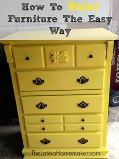 How To Paint Furniture The Easy Way A simple DIY project. Easy and foolproof steps on how to paint furniture. Check out how I turned an old dresser, into a beautiful piece of furniture. Old Furniture, Refurbished Furniture, Paint Furniture, Repurposed Furniture, Furniture Projects, Furniture Making, Furniture Makeover, Furniture Design, Diy Projects