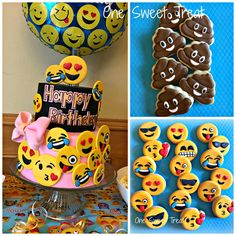Emoji birthday cake and cookies. This was my daughter's birthday cake to celebrate her birthday. The cookies were party favors. My Daughter Birthday, 10th Birthday, Birthday Parties, Birthday Cake, Birthday Ideas, Bolo Fake Eva, Emoji Cake, Party Cakes, Party Favors