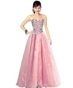 Faironly Light Pink Crystal Prom Gown Formal Dress:Price: $129.00