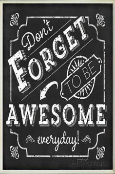 Be Awesome Inspirational Chalkboard Look Wall Plaque Wood Sign