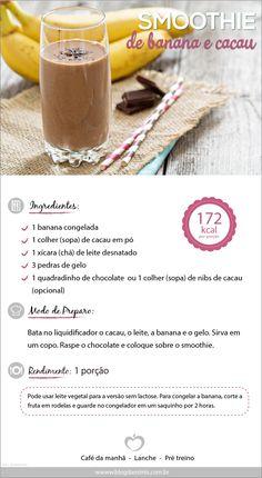 Receita de smoothie de banana com cacau do Blog da Mimis - Eu amo um smoothie geladinho e cremoso! Nessa receita juntei dois super alimentos : chocolate e banana! Delícia!