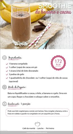 Smoothie de banana e chocolate