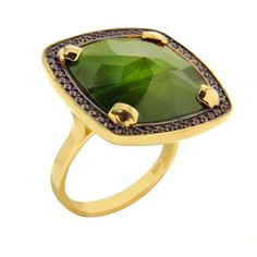 Gold ring with tourmaline and sapphires // anillo de oro con turmalina y zafiros www.art-jeweller.com