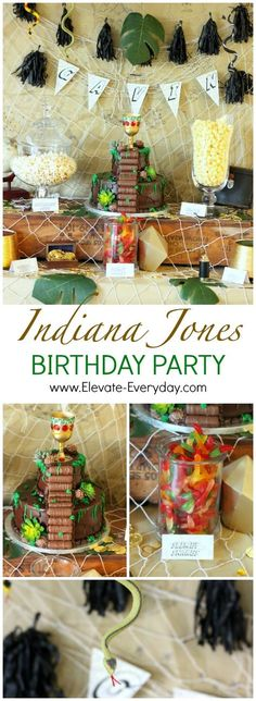 This DIY vintage Indiana Jones Birthday Party is simple and easy to pull together. You have to see this Temple of Doom Cake! 1 Year Old Birthday Party, Birthday Gag Gifts, Boy Birthday Parties, Cake Birthday, 8th Birthday, Grandpa Birthday, Birthday Sayings, Birthday Crafts, Birthday Images
