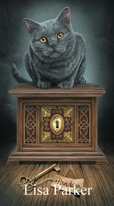 From the mystical imagination of enchanting fantasy artist Lisa Parker comes this magical purse On a wooden table an inviting and ornate box sits the Fantasy Kunst, Fantasy Art, Wicca, Lisa Parker, Magic Cat, Black Cat Art, Black Cats, Art Manga, Pandoras Box