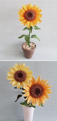 If you want to introduce some fresh spirit into your house this summer, there is no better way! You need some experience, but with the instructions by Pippa Patterns, the project will be a piece of cake. #sunflower #sunflowercraft #sunflowerdecor #summerdiy #crafttutorials  #crochetdecor #sunflowercraft #sunflowerdecor #summerdiy #crochetflower #freecrochetpattern Sunflower Crafts, Crochet Sunflower, Crochet Flowers, Home Crafts, Diy Crafts, Sunflower Fields, Piece Of Cakes, Summer Diy, Craft Tutorials