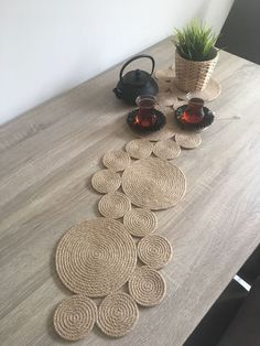 Home Decor, Natural Rope Table Runner / Tablecloth MERIDA Best Housewarming Gift, New Home Gift, Rustic Decor, Kitchen Table Decor - Sofa Styles Merida, Coffee Desk, Advantages Of Watermelon, Eating Plans, Food Items, Aluminium, Rustic Decor, Rustic Table, Table Runners