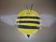 paper plate bumble bee with wax paper wings