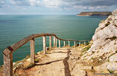 The path to Caswell Bay, Gower, Wales- can't wait to walk this again with the boy- no hanging on the rails though! Wales Uk, South Wales, Swansea Bay, Swansea Wales, Wonderful Places, Beautiful Places, British Beaches, Gower Peninsula, Places Of Interest