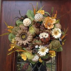 Burlap and Mesh Owl Wreath by HertasWreaths on Etsy