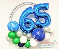 A small balloon hoop birthday gift. Balloon Stands, Balloon Display, Balloon Decorations, Wedding Decorations, Small Balloons, Number Balloons, 65th Birthday, Birthday Gifts, Milestone Birthdays