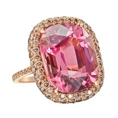 Paolo Costagli Pink Tourmaline and Cognac Diamond Ring