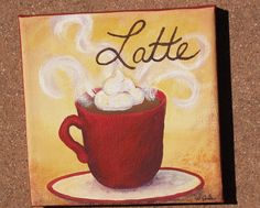 Custom Love of Latte - 8x8 Original Coffee paintings on canvas - bistro, kitchen, cappuccino, espresso, macchioto- your color choice. $70.00, via Etsy.