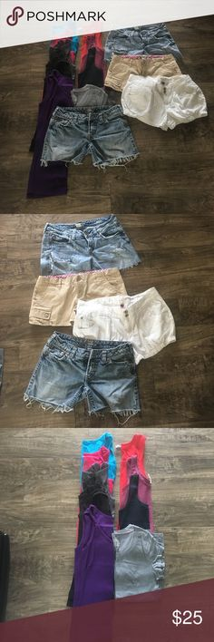 14 pc bundle 14 pc bundle all in good shape 6 faded glory tanks all lg blue tank med (hollister) red med (kavio) purplish med (poof) gray t lg (no boundaries) shorts 2 silverjean shorts  27/28 (Lola/tia) white (hwy Jean) short sz 11 tan (Aeropostale) 9/10. All fit me the same except tia shorts are all little tighter fit. Not splitting. 🤔BUNDLE MIX Other