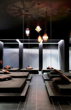 The spa features luxe facilities like this Turkish hammam.