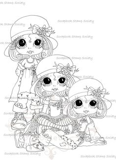 Sherri Baldy Digi Stamps Here are some of the NEW digis I sneak peeked last night coming out from My Fashion Dollie Lil Ragamuffins . Colouring Pages, Adult Coloring Pages, Coloring Books, Besties, Embroidery Designs, Big Eyes Artist, Line Art Images, Gothic Culture, Doodle