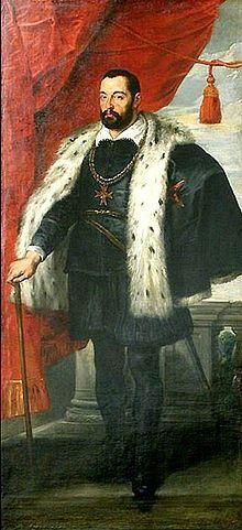 Cycle de Marie de Médicis, Portrait de François I° de Médicis (1541-1587) grand duc de Toscane, père de Marie de Médicis et fils de Cosme I°, Rubens - Les 3 dernières peintures sont des portraits de Marie de Médicis, de son père François I° et de sa mère Jeanne d'Autriche. François I° est représenté vêtu d'un manteau d'hermine doublé avec une croix autour de son cou qui symbolise l'ordre toscan de St-Etienne que son père avait fondé.