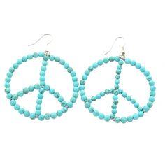 Melz peace oorbellen turquoise