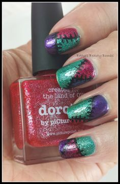 http://www.bettysbeautybombs.com/2014/05/13/tri-polish-tuesday-may-2-green-red-purple/ / Picture Polish Patchwork Mani