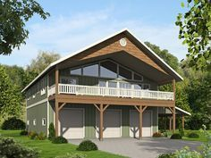 012G-0126: Garage Apartment Plan with Drive-Thru Boat Storage Bay