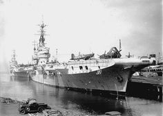 March 3, 1946: HMS IMPLACABLE [rear] HMS GLORY and HMS INDEFATIGIBLE visit Melbourne - Photo Allan C.Green
