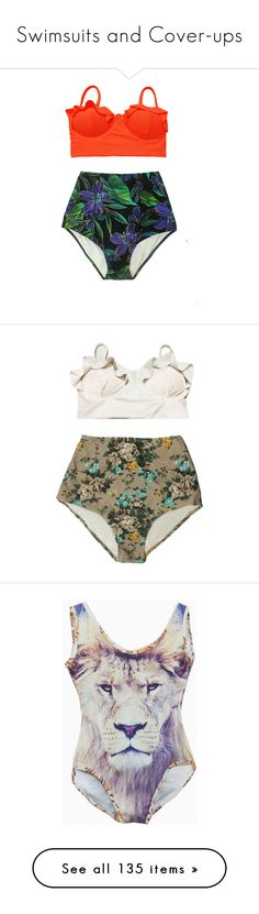 """""""Swimsuits and Cover-ups"""" by daizydreamer ❤ liked on Polyvore featuring swimwear, bikinis, grey, women's clothing, bikini bathing suits, high waisted swimsuit, high-waisted bathing suits, retro high waisted bikini, floral high waisted swimsuit and bathing su"""