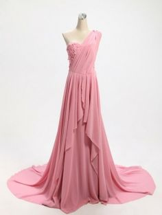 affordable long pink one shoulder evening dress | Cheap sleeveless Sale