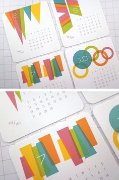 Be... Colorful Modern Mini Calendar 2014 by monkeymindesign