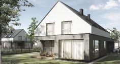 Wizualizacja jednego z domów na nowym osiedlu zlokalizowanym w okolicach Kępy Zawadowskiej w Warszawie