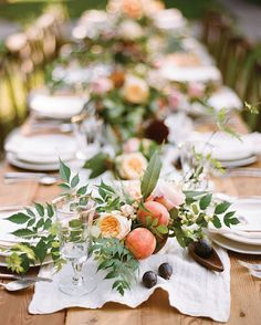 """Looking to add a little punch of color here and there? Consider adding fresh fruit to your tablescapes. #oncewedvendor @bowsandarrowsflowers knows just…"""