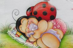 Pintura em tecido Baby Ladybug, Painting Templates, Country Paintings, Photo On Wood, Tole Painting, Paper Piecing, Emoticon, Painted Rocks, Cute Pictures