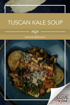Tuscan Kale Soup Save Recipe Print Ingredients 1 tablespoon olive oil plus more for later 1 onion, chopped 2 sticks celery, chopped 1 fat carrot, chopped sea salt and pepper ¼ t… Soup Pan, Rhubarb Chutney, Kale Soup Recipes, Parmesan Rind, Beef Burgers, Meals For One, Love Food, Serving Bowls