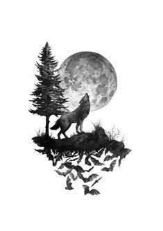 Night Forest Wolf Temporary Tattoo Sticker (Set of Wolf Tattoo Design, Wolf Design, Wolf Tattoo Sleeve, Sleeve Tattoos, Tattoo Wolf, Forest Tattoo Sleeve, Wolf Und Mond Tattoo, Animal Drawings, Art Drawings