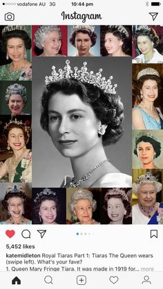 Queen Elizabeth II, many crowns and tiara...