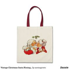 Vintage Christmas Santa Kissing Mrs Claus Tote Bag