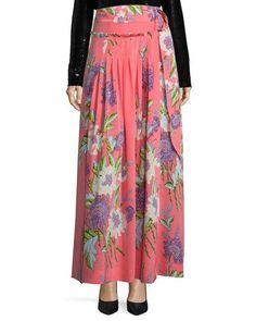 DIANE VON FURSTENBERG Floral-Print D-Ring Silk Midi Skirt, Pink. #dianevonfurstenberg #cloth #