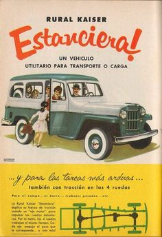 Willys Stw made by Kaiser in Argentine! Retro Advertising, Vintage Advertisements, Vintage Ads, Classic Trucks, Classic Cars, Old Posters, Classic Hot Rod, Jeep Cars, Retro Logos