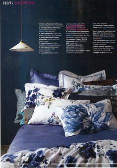 Homes & Gardens UK magazine featuring Indigo bedlinens, including Designers Guild Charlottenberg bedlinen